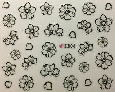 Nail Art 3D Decal Stickers Sketch Flowers Black Outline Flowers E304