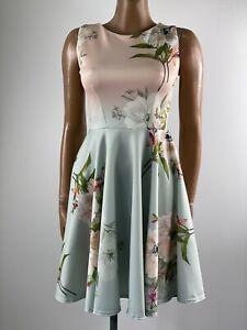 CLOSET LONDON Pink & Pale Green Ombre Floral Stretch Skater Dress 10