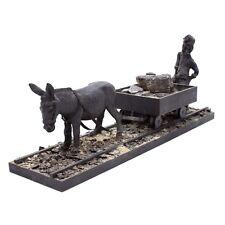"Vtg 22"" Coal Miner w/Donkey Cart Long American Folk Art Sculpture Wood Carving"