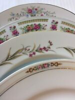 Vintage Set of 4 Mismatched China Dinner Plates Wedding Shower Shabby Pink #237