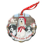 Bearded Collie Holiday Porcelain Christmas Tree Ornament