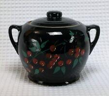 Vintage Bean Pot Cookie Jar Black Ceramic Pottery w/ Cold Painted Cherry Design