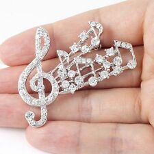 #P496A Stunning Big Large Treble Clef Music Sheet Deluxe Crystal Pin Brooch New