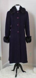 ST JOHN Sz 14 Plum Purple 100% Angora Fox Fur Cuffs Neck Long Winter Coat