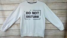 "Zara Boys White Sweatshirt ""DO NOT DISTURB"" Graphic Side Zipper Slits Size 11/12"