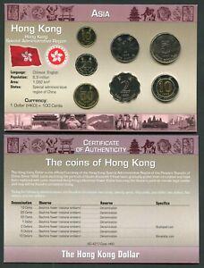 China Hong Kong 10 cents - 10$ 1993-98 UNC Coin Set New World Money Series w/CoA