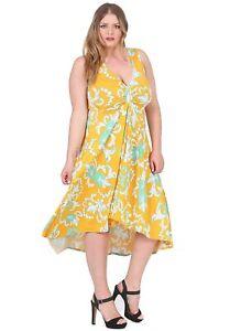 Magna Lagenlook Designer Damen Midi Kleid Tunika Sommerkleid Vokuhila-Stil gelb