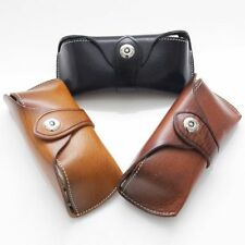 100% Real Leather Sunglasses Hard Case Magnetic Summer Spectacles Eyeglass Pouch