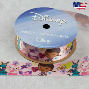 "7/8"" Disney Doc McStuffins Pink Ribbon-Offray 3 yds (9 ft) Friends Hearts"