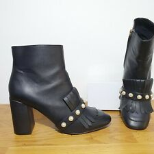 Primark Black Pearl Studded Fringed High Ankle Boots Size 7 Faux Leather Tassel