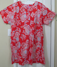 NWT Women's Plus Size 24W Cotton SS Dress; unlined shift; red paisley design