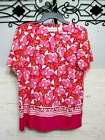 Alfred Dunner Knit Top Size M Short  Sleeve  Multicolored  Blouse