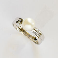 PEARL RING 7.1mm CULTURED FRESHWATER PEARL REAL DIAMONDS 14K 585 WHITE GOLD NEW
