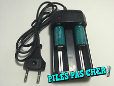 2 PILES ACCUS RECHARGEABLE CR123A 16340 3.7V 1200Mah MECO Li-ion + CHARGEUR 2016