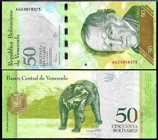 World Paper Money - Venezuela 50 Bolivares 2015 Series AG8 @ Crisp UNC