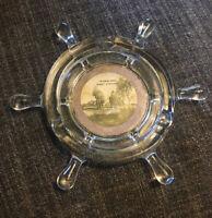Vtg '60's Glass Souvenir Ships Wheeling W Virginia Ash Tray Cigarette