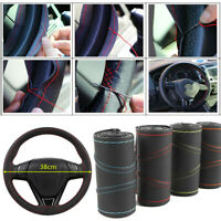 Car Auto Needle 38cm Universal Real Leather DIY Steering Wheel Protection Cover