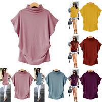 Plus Size Women Turtleneck Short Sleeve T Shirt Cotton Solid Casual Blouse Top