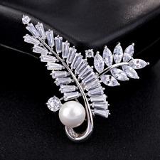 Brooches Bouquet Pin Wedding Party Jewelry Fashion Unisex Silver Cz Crystal Leaf