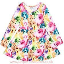 Liliane Girl's A099 'Winter Unicorn Dress' Cats&Dogs Print Multi L/S Dress - 6-7