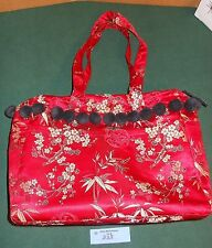 PETUNIA PICKLE BOTTOM Red Sunset Dragon Roll Silk Diaper Bag Tote Asian