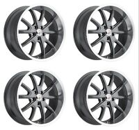 "Set 4 15"" Vision 143 Torque Charcoal Machined Classic Wheels 15x8 5x4.75 -19mm"