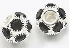 14mm Jet Black Rhinestone Crystal Charm Bracelet Beads x5