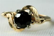 VINTAGE 14K GOLD 3/4 CARAT SAPPHIRE RING WITH LEAVES