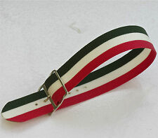 Vintage NOS watch 18mm nylon band 1960s red, green & white with silver buckle