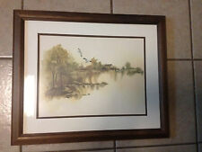 "Framed Country Farm/Lake Scene Print - Approx, 22 1/2"" x 18 1/2"""
