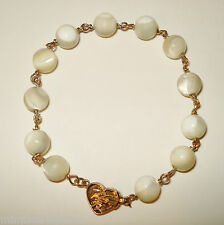 Mother of Pearl Bead 14k Gold Bracelet H.K. Chinese Calligraphy Love Clasp Ming?