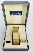 Vintage Seiko Mens Rectangle Gold Watch w/ Case 5Y30-5A09