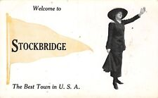 """The Best Town in the USA"" Is Stockbridge Illinois~Lady Welcomes~1913 Pennant PC"