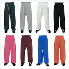 Shaolin Kung fu Tai chi Taoist Wudang Uniform Trousers Pants Linen 17 Colors