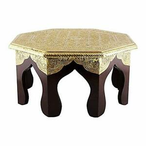 Wooden Handcrafted Carved Brown & Gold Color Wooden with Brass Octagonal Stool