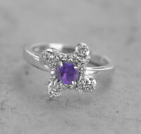 925 Sterling Silver Ring Natural Amethyst Purple Gemstone Size 4 to 11