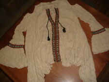 FREE PEOPLE BOHO FOR THE LOVE OF FLOWERS BELL COLD SHOULDER TAPESTRY TUNIC - L