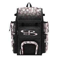 Boombah Superpack Baseball Graphic Bag, Players Bat/Gear Pack/Backpack, Black