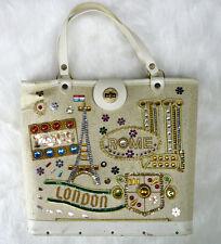 Vintage Canvas Jeweled Purse World Traveler Paris Rome London 60s Kit Handbag