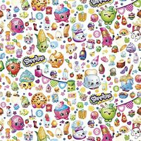 Moose Shopkins Party white 100% cotton fabric by the yard