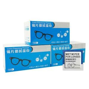100 Pcs Glasses Cleaner Wet Wipes Cleaning Lens Disposable Anti Fog HOT