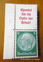 EBS Germany 1934 Hindenburg se-tenant slogan marginal pair Mi. S123 MNH** cv $63