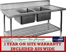 FED COMMERCIAL DOUBLE MIDDLE CENTRE SINK SS STAINLESS STEEL BENCH DSB7-2100C/A