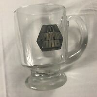 McDonalds Priority One Glass VTG Cup Pewter Seal Mug 80s Pedestal Employee Gift