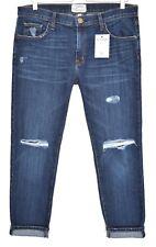Current Elliott Boyfriend Bleu Foncé Déchiré Effiloché Fling CROP jeans Taille 12 W30