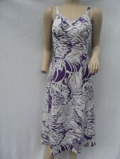 VINTAGE 1970s PURPLE & WHITE ABSTRACT FLORAL SUN DRESS