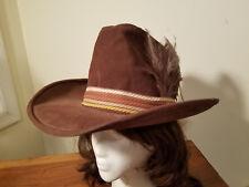 60f59b24df5 Vintage Men s Hush Puppies Brown Suede Cowboy Western Hat w  Feathers Size L