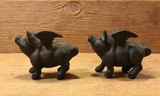 Set of Two Small Flying Pig Cast Iron Metal Figurines Statues Rustic 0184-10006