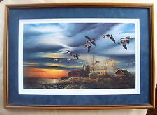 "SILENT SUNSET Canada Geese TERRY REDLIN Signed Framed Art Print 1980 10.5"" x 18"""