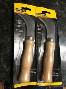LOT OF 2 Stanley 10-509 LINOLEUM KNIFE (Vinyl Plastics Carpet) w/Hardwood Handle